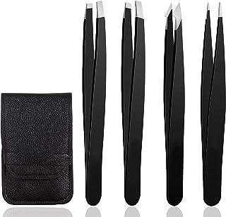 Sponsored Ad – Eyebrow Tweezers, Jiasoval 4 Piece Professional Tweezers Set with Case, Stainless Steel Precision Tweezer K...