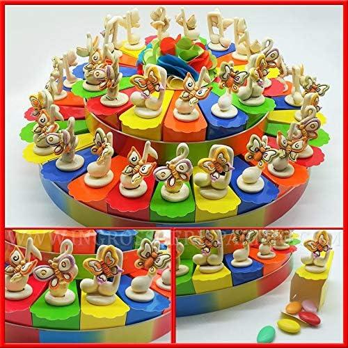 In so e Risparmio   und Spart Tortenaufbau 15, 25 oder 40 Scheiben Figuren aus Kunstharz und Bunte Schmetterlinge Geburtstag mädchen 40 fette Senza Confetti