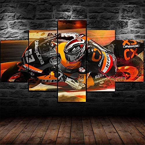 VENDISART,Impresiones sobre Lienzo,Modular Decoración De Pared Póster,5 Piezas Cuadro,Márquez Motogp Racing Foto,con Marco,Talla-150 * 80CM/2