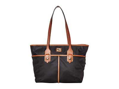 Dooney & Bourke Camden Double Pocket Tote (Black/Dark Chocolate Trim) Tote Handbags