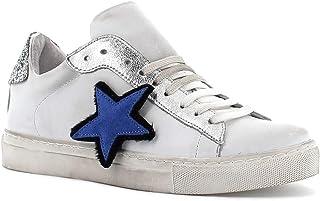 RICCIANERA Sneakers in Pelle con Lacci e Stella, Made in Italy - Colore Bianco