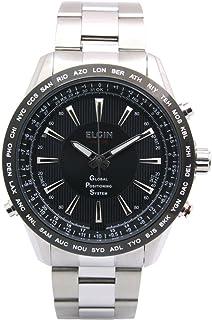 [エルジン]ELGIN GPS衛星電波腕時計 スイス製ムーブ オールステンレス 100M防水 ブラック GPS2000S-B メンズ