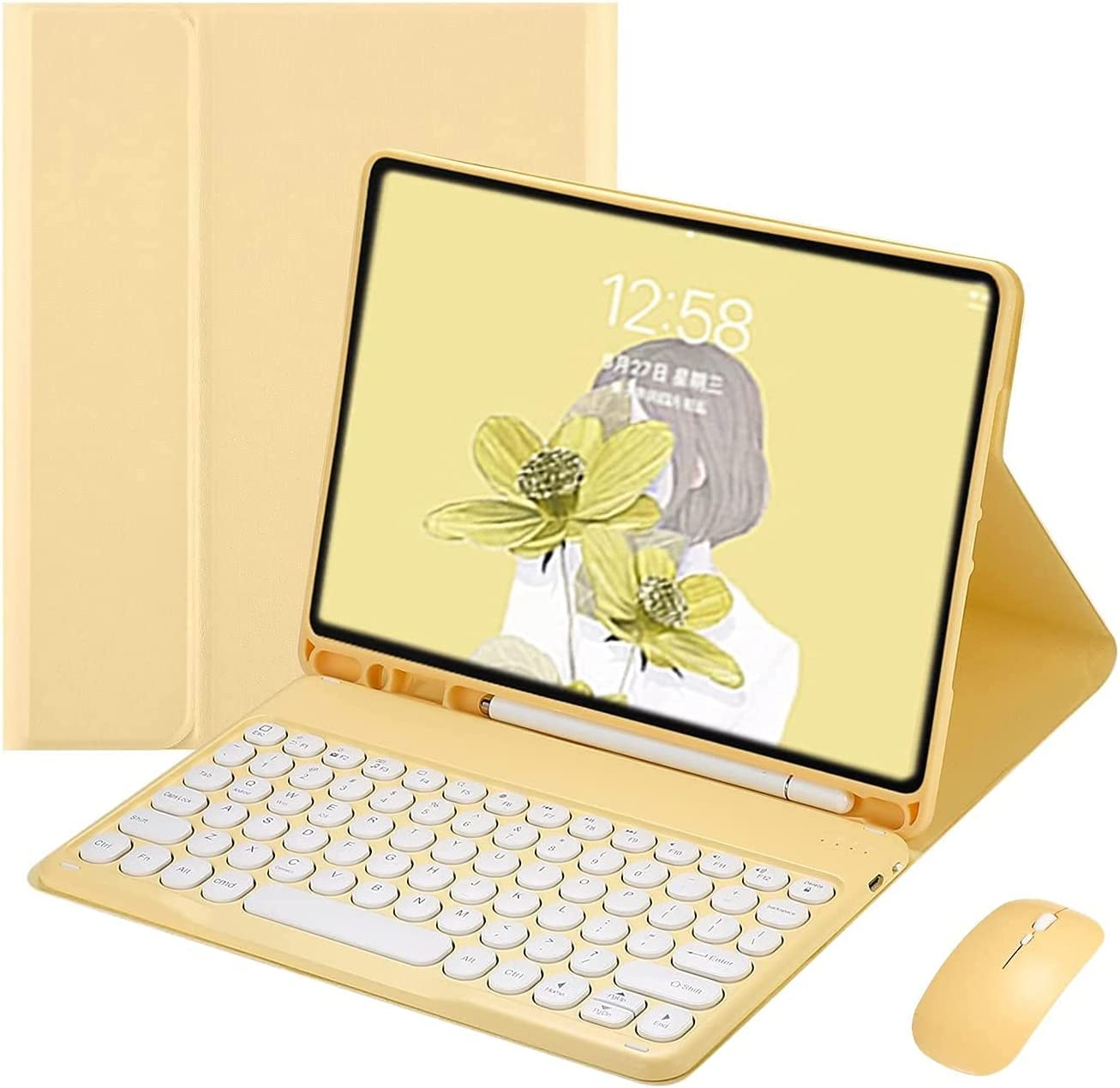 BlinkCat Round Keycap Keyboard Case for iPad 9.7 6th Gen 2018 / 5th Gen 2017, iPad Pro 9.7, Air 2 & 1, Magnetic PU Folio Stand Cover Detachable Wireless Bluetooth Keyboard + Mouse Candy Color - Yellow