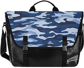 Bolso de lona para hombre y mujer, diseño de camuflaje azul, ideal para iPad, Kindle, Samsung