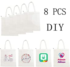 8pcs of sublimation blank canvas bag with zipper, Built-in pocket Resuable Washable Grocery Shopping Tote Bags for DIY by UOhost