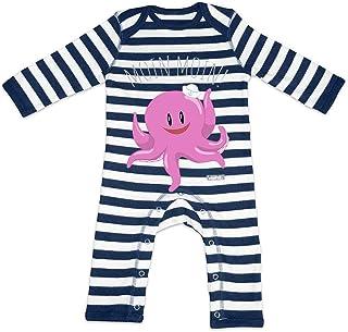 HARIZ HARIZ Baby Strampler Streifen Moin Moin Krake Süß Tiere Dschungel Plus Geschenkkarte Navy Blau/Washed Weiß 12-18 Monate