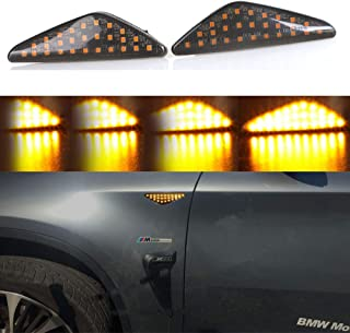 Jinfili A Pair 27 SMD Sequential Dynamic Amber LED Front Fender Side Marker Lights Turn Signal Lamp for BMW F25 X3 E70 X5 E71 X6