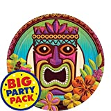 60 plates Round plates made of paper designed with assortment of hibiscus flowers and colorful tiki pole in bright background Turn the heat up on your party with our tropical tiki dessert plates! Perfect supplies to celebrate party without having a m...