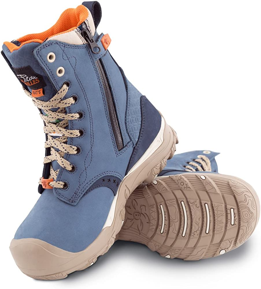 P&F Workwear Women's 8″ Waterproof Steel Toe Safety Work Boots with Zipper - PF648 - Blue