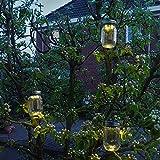 Gadgy ® Solarglas Einmachglas | Set 3 Stück mit 5 LED's | Warmweiß Licht | Solar Lampe für Außen | Garten Laterne - 6