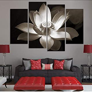 Posters Prints 4 Panel Black And White Simple Lotus Flower Modern Wall Art Home Decoration Printed Flower Oil Painting Can...