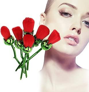 6Pcs Makeup Brush Set, Red Rose-shaped Foundation Blusher Powder Face Cosmetic Tool