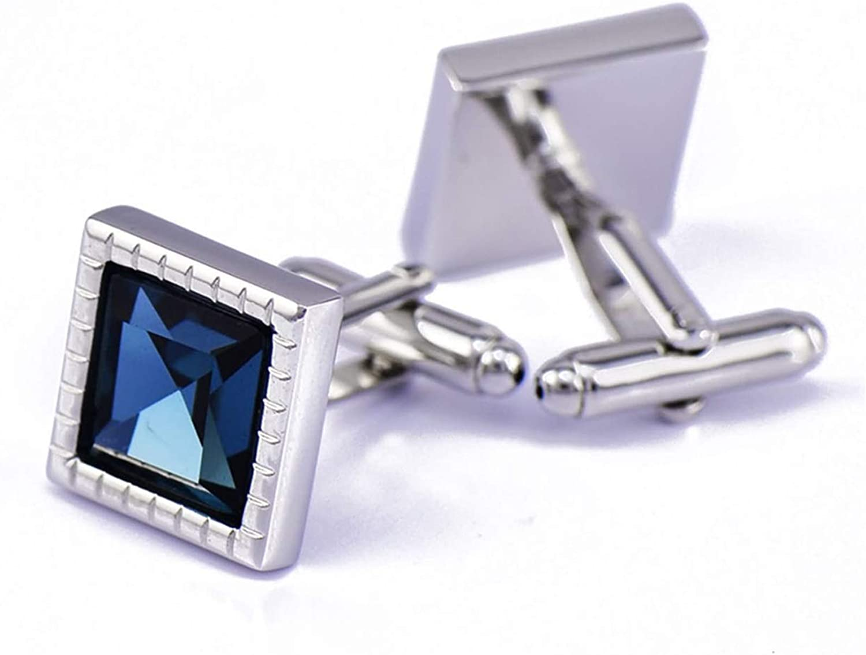 KnBoB Men Cufflinks Square Crystal Discount is also underway Blue Zirconia Cubic Dark Max 61% OFF