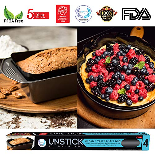 UNSTICK Premium Nonstick Cake & Bread Loaf Pan Liner, Baking Mat Withstands up to 500F, Made with Japanese PTFE Material, Reusable, 100% PFOA-Free (Pack of One Round Cake Liner & One Loaf Liner)