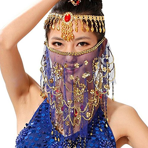Saymequeen Women Beaded Belly Dance Face Veil Lady Beautiful Costume Accessory (royalblue)