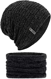 Wintermütze , otutun Warme Beanie Mütze Herren Damen Winter Strickmütze und Schal Set mit Weichem Fleecefutter, Schwarz
