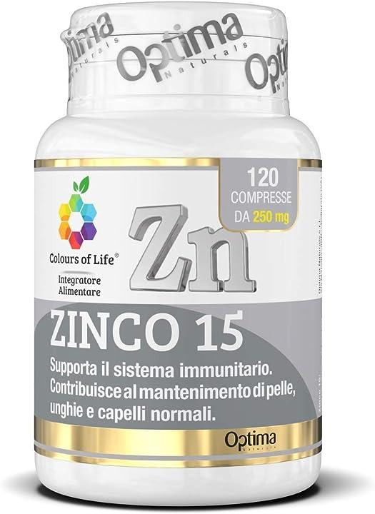 Colours of life zinco 15 - integratore di zinco - minerale essenziale per l`organismo - 120 compresse NVI11042