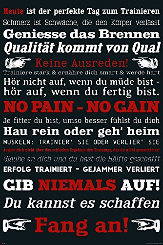 empireposter Motivational - Gym Training - Keine Ausreden! Schwarz - Motivations Poster Plakat Druck - Größe cm
