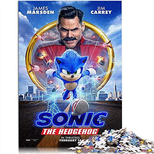 YITUOMO 300 piezas rompecabezas difícil para adultos adolescentes Sonic el erizo cartel de la película Rompecabezas clásico de la familia Rompecabezas juegos educativos para niños adultos 38 x 26 cm
