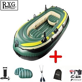 RUXINGGU El último Bote Inflable de Pesca Engrosado, lancha motora, Kayak, Pesca, aerodeslizadores, 1.13 m * 2.43 m más Paleta, Bolsa de Almacenamiento, Bomba de Aire de Doble Uso, Bomba de Mano