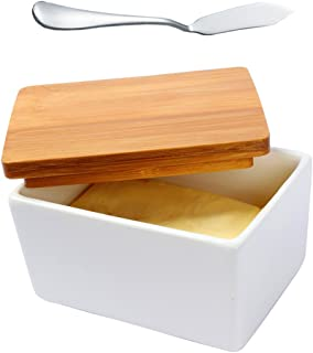 Fecihor Ceramic Butter Dish with Bamboo Lid, Butter Keeper Container with Butter Knife Food Storage Candy Box Baking Dish, White(5.1