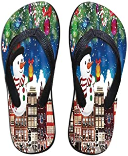 Christmas Stylish Flip Flops,Snowman Gets The Gift from Santa Claus in Winter Night Moonlight Illustration for Women & Girls,US Size 5