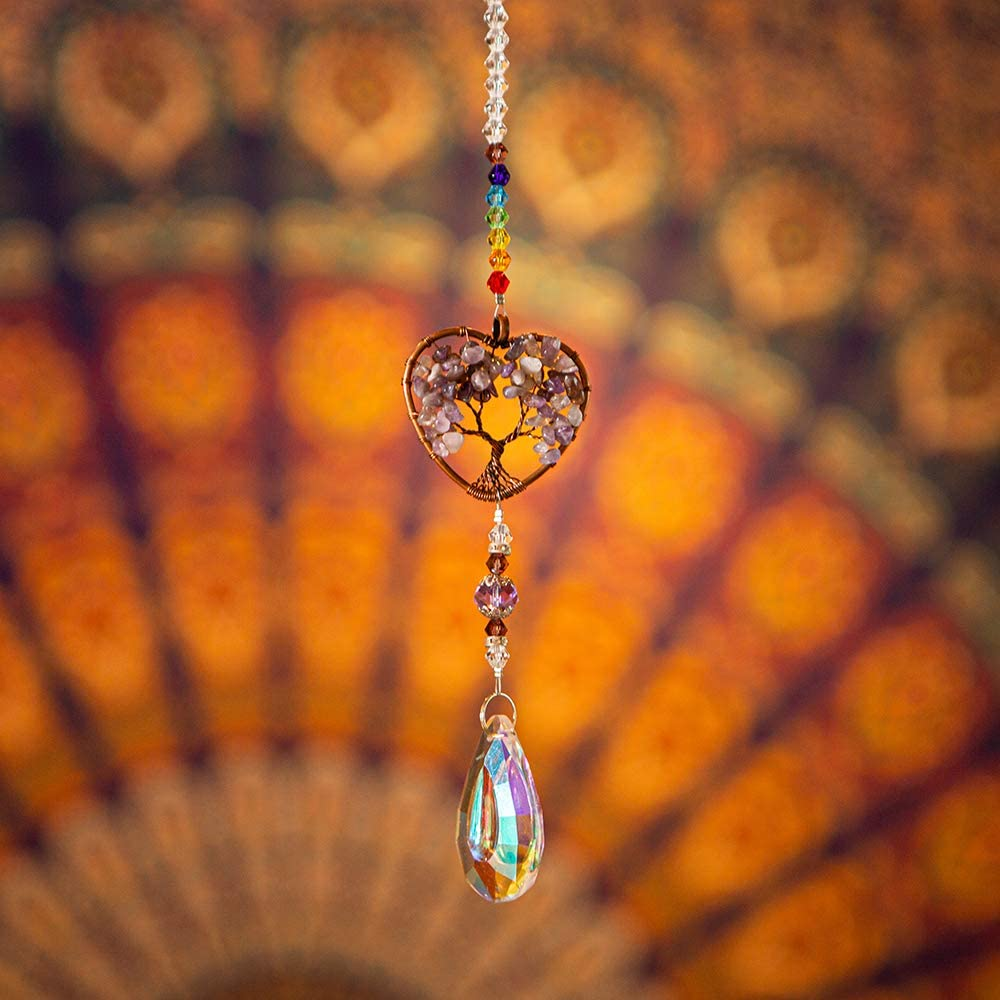 Garden Home Decoration WEISIPUN Crystals Sun Catcher Decor Window Life Tree Crystal Pendant Window Decorations Suncatchers for Window Multicolor-Conical