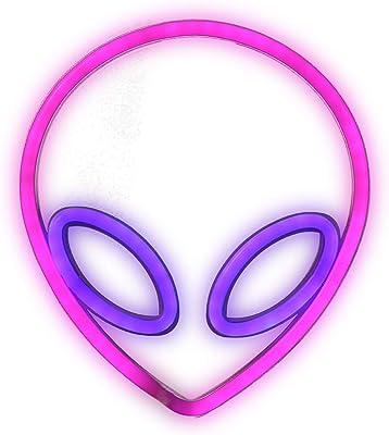 Alien Leuchtreklamen LED Alien Neonzeichen,Alien Neonlicht für Schlafzimmer Wand Home Bar Kunst Dekoration (Pink + Blau)