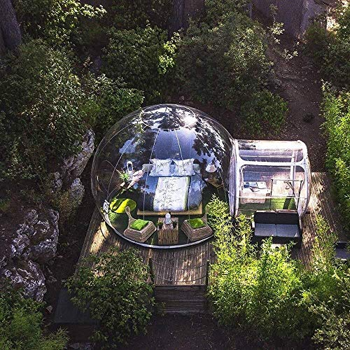Sucastle Outdoor Single Tunnel Inflatable Bubble Tent Transparent Viewing Gazebo, Family Camping Backyard Transparent Tent with Blower