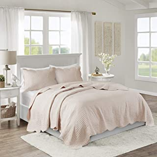 Madison Park Tuscany 3 Piece Reversible Scalloped Edge Coverlet Set, Full/Queen, Blush