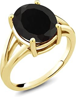 Gem Stone King 18K Yellow Gold Plated Silver Black Onyx Women's Ring 4.00 Ctw Oval (Available 5,6,7,8,9)
