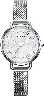 SINOBI Creative Design Simplicity Women Watch Elegant Diamond Mesh Band Women Watches Ladies Wristwatch (S9796L-Silver)
