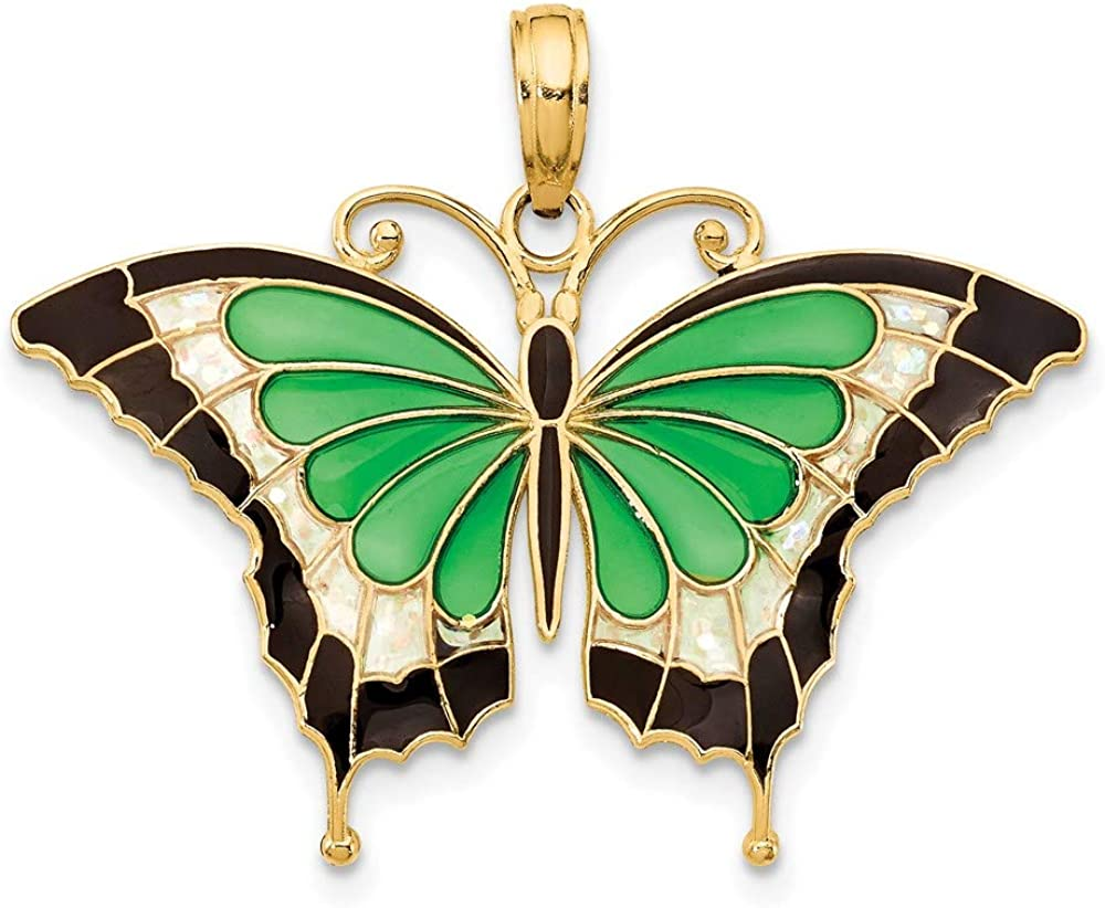 14k Yellow Gold Green Enameled Butterly Pendant Charm Necklace Animal Insect Arachnid Butterfly Fine Jewelry For Women Gifts For Her