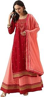 Abito da festa di nozze in seta ricamato Salwar Kameez indiano pronto da indossare Salwar Suit Set (Kurta, Gonna e Dupatta)