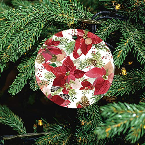 ALUONI Christmas Winter Poinsettia Flowers Seamless Christmas Ornaments 2020 Christmas Ceramic Pendant Personalized Creative Christmas Decorations Double Sided Christmas Tree Ornament SW18436 3PCS