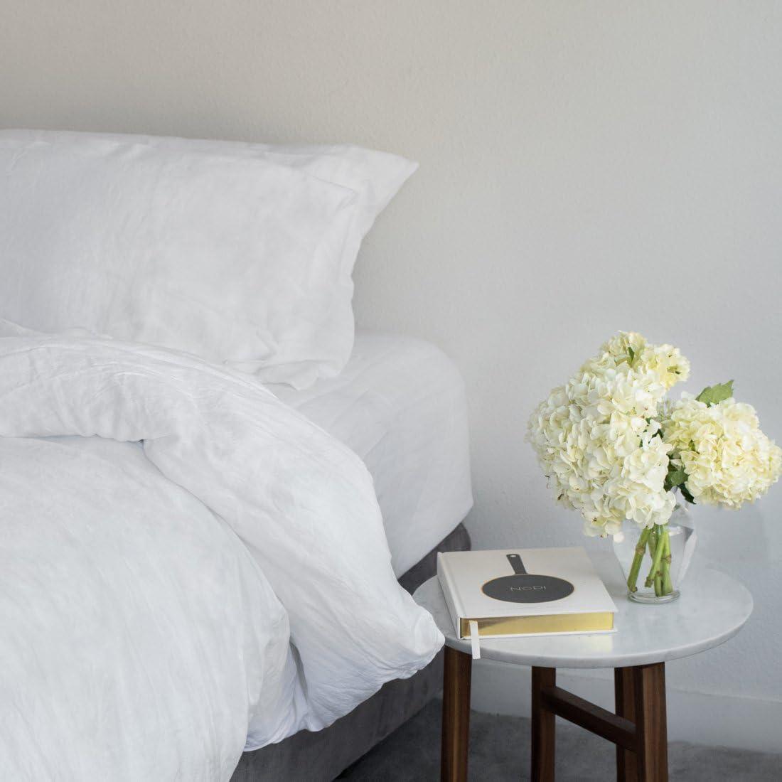 Huddleson White Vintage-Washed Mail order Popular product cheap Pure Italian Set Sheet Linen Ki -