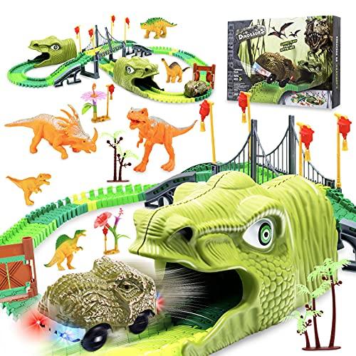 Dinosaurios Juguetes para Niños 257 Piezas Jurassic World Juguetes Pista de Carreras Dinosaurios con Coche Construcciones Juguetes Educativos Regalos para Niños Niñas de 3-8 años