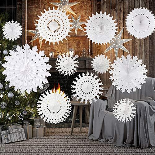 TUPARKA 16 Pcs White Paper Schneeflockendekorationen Papier Schneeflocken Hängende Dekoration Winter Weihnachten Hochzeit Taufe Dekorationen, sortieren Größe