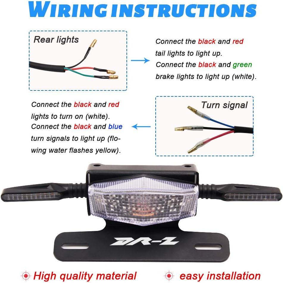 Red License Plate Holder Fender Eliminator Rear Tail Tidy LED Brake Lights and Turn Signals For Suzuki DRZ400S DRZ400SM DRZ400E