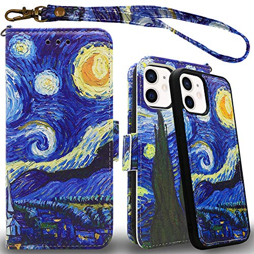 """Mefon Wallet Case for iPhone 12 Mini 5.4"""", Magnetic Detachable, Wireless Charging Compatible, with Tempered Glass and Wrist Strap, Leather Folio Flip Phone Cases for iPhone 12 Mini (Starry Night)"""