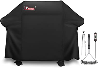 Kingkong Gas Grill Cover 7553 | 7107 Cover for Weber Genesis E and S Series Gas Grills Includes Grill Brush, Tongs and Thermo