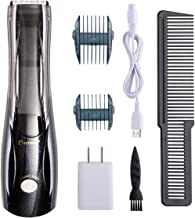 BESTBOMG Pro Outliner Vacuum Trimmer Hair Clipper for Men Vacuum Haircut Barber Kit Cordless Vacuum Hair Trimmer with USB Rechargeable Lithium Ion, 3 Combs Dual Voltage 110-120 VAC, Black