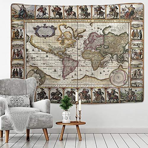 KHKJ Tapiz de Mapa del Tesoro Pirata para Colgar en la Pared, Manta de Playa Bohemia, Manta de mantón de Yoga, Manta A2 200x180cm