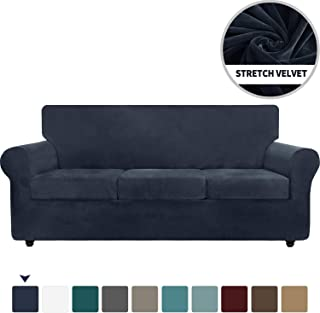 Chelzen Velvet Plush 4 Pieces Couch Covers for 3 Cushion Couch Super Stretch Anti Slip Spandex Sofa Slipcover Living Room Dogs Pets Furniture Protector with Elastic Bottom (Sofa, Navy Blue)