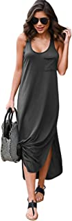Women's Sleeveless Racerback Side Split Maxi Tank Long Dresses with Pocket X-Large Grey