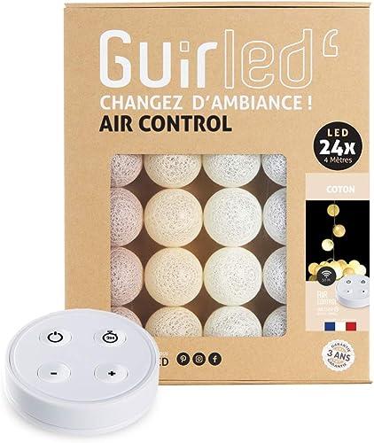 Guirlande lumineuse boules coton LED USB - Télécommande sans fil - Veilleuse bébé 2h - Adaptateur secteur double USB ...