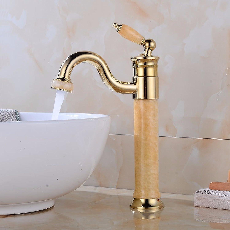 Bijjaladeva Wasserhahn Bad Wasserfall Mischbatterie Waschbecken WaschtischGolden Jade Zapfhhne Kaltes Wasser Keramik Ventil Einloch Single Bad Waschtisch Armatur mit Griff