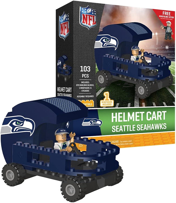 Oyo Sportstoys Seattle Seahawks OYO Sports Helmet Cart with Minifigure 103PCS PNFLSEAHCG4PS, Navy bluee Grey Green, One Size