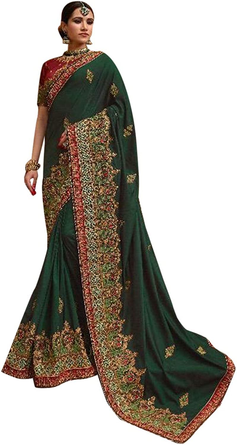 Indian Ethnic Heavy Party Wear Royal Red Green Saree With Blouse Designer Collection Sari 7365