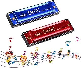Harmonica Enfant, Harmonica Diatonique, 2 Pièces Harmonica 10 Trous Harpe Diatonique -Harmonica en do majeur pour Débutant...